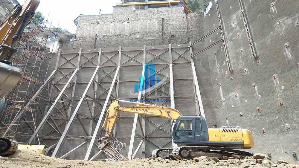 عملیات گودبرداری، تثبیت و پایدارسازی دیوارههای گود به روش اجرای انکراژ و سازه نگهبان خرپایی