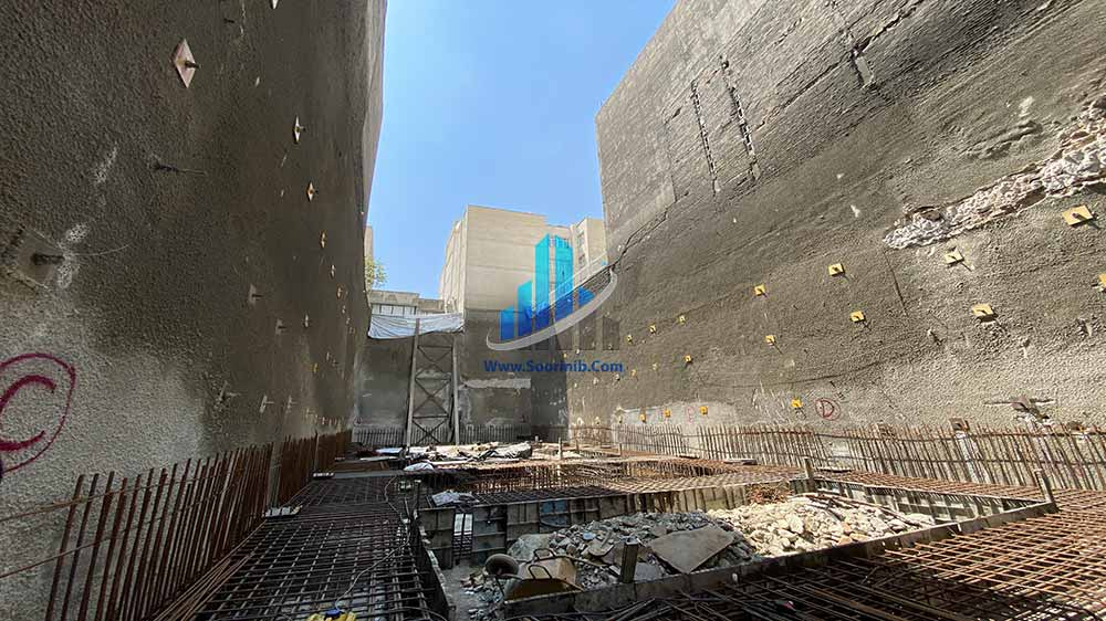 عملیات گودبرداری و پایدارسازی دیوارههای گود به روش اجرای انکراژ و شمع فولادی