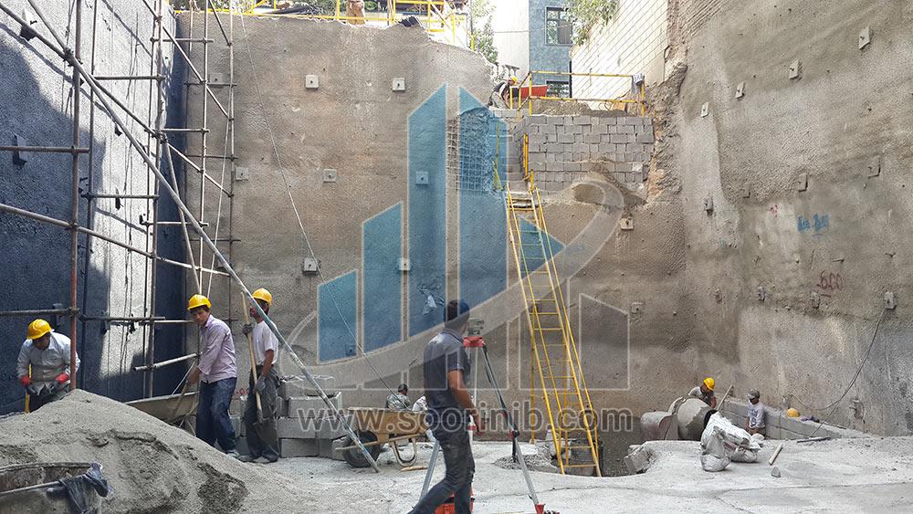 عملیات گودبرداری و تثبیت و پایدارسازی دیواره های گود به روش اجرای نیلینگ و انکراژ