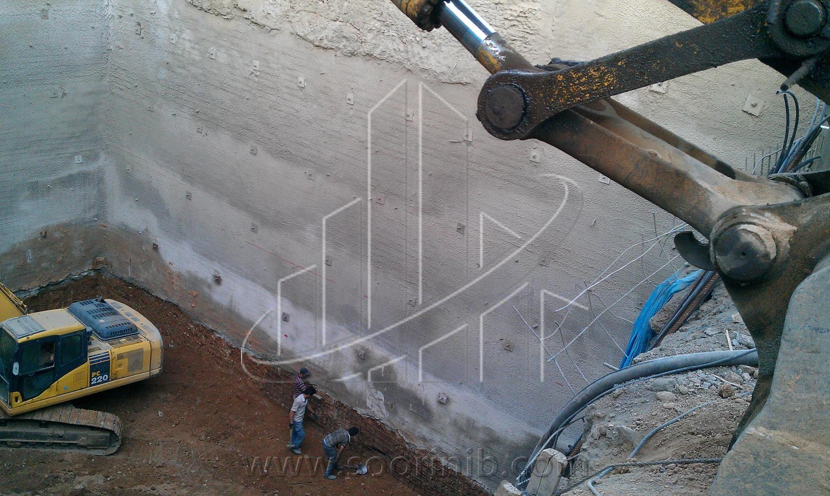 عملیات گودبرداری و تثبیت و پایدارسازی دیوارههای گود به روش اجرای نیلینگ و انکراژ