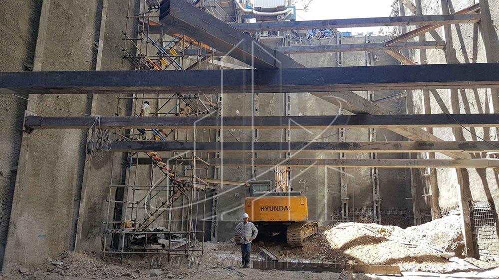 عملیات گودبرداری و تثبیت و پایدارسازی دیوارههای گود به روش اجرای مهار متقابل