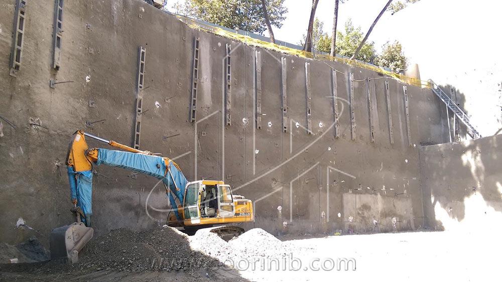 عملیات گودبرداری و تثبیت و پایدارسازی  دیوارههای گود به روش انکراژ و اجرای شمع فولادی