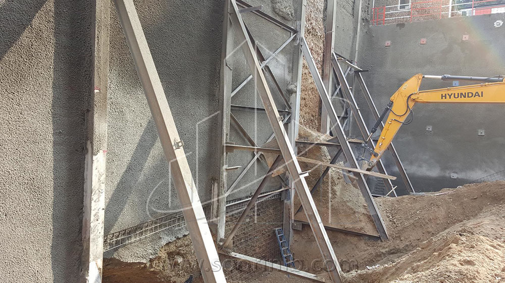 عملیات گودبرداری و تثبیت و پایدارسازی دیوارههای گود به روش اجرای نیلینگ و سازه نگهبان خرپایی