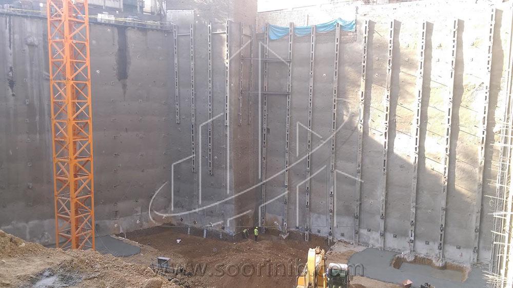 عملیات گودبرداری و تثبیت و پایدارسازی دیوارههای گود به روش اجرای شمع فولادی و انکراژ