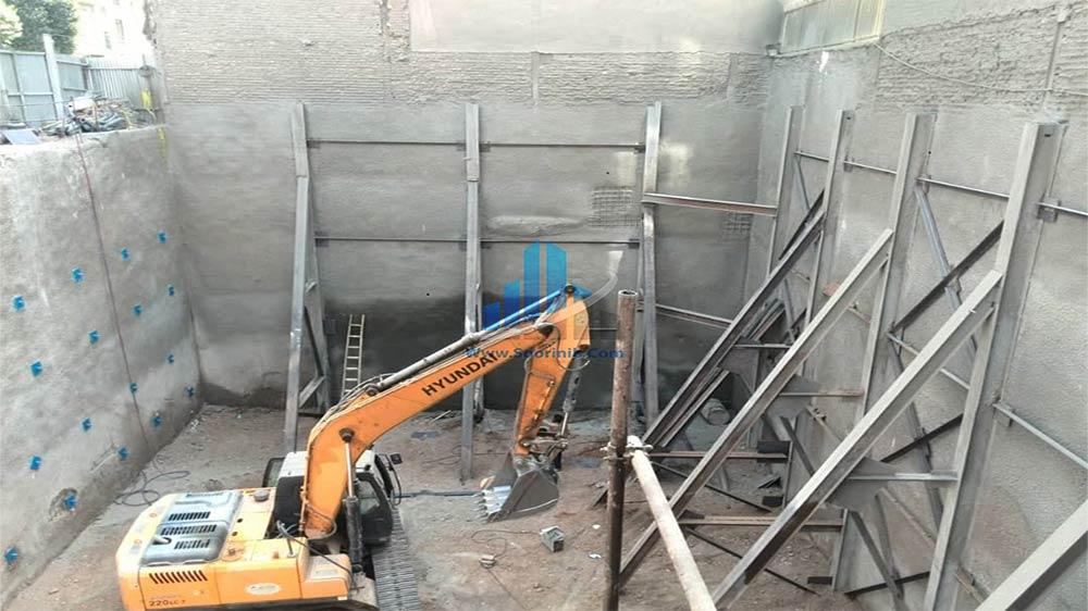 عملیات تخریب، گودبرداری، تثبیت و پایدارسازی دیوارههای گود به روش نیلینگ و سازه نگهبان خرپا