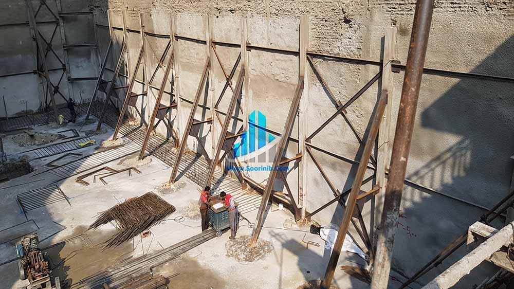 عملیات تثبیت و پایدارسازی دیوارههای گود به روش اجرای نیلینگ و سازه نگهبان خرپایی